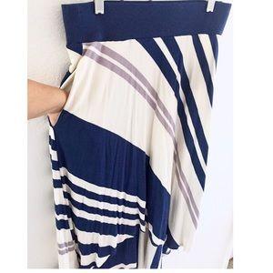 NWT CUTE Anthro Bordeaux Sea Stripe Hi Lo Skirt